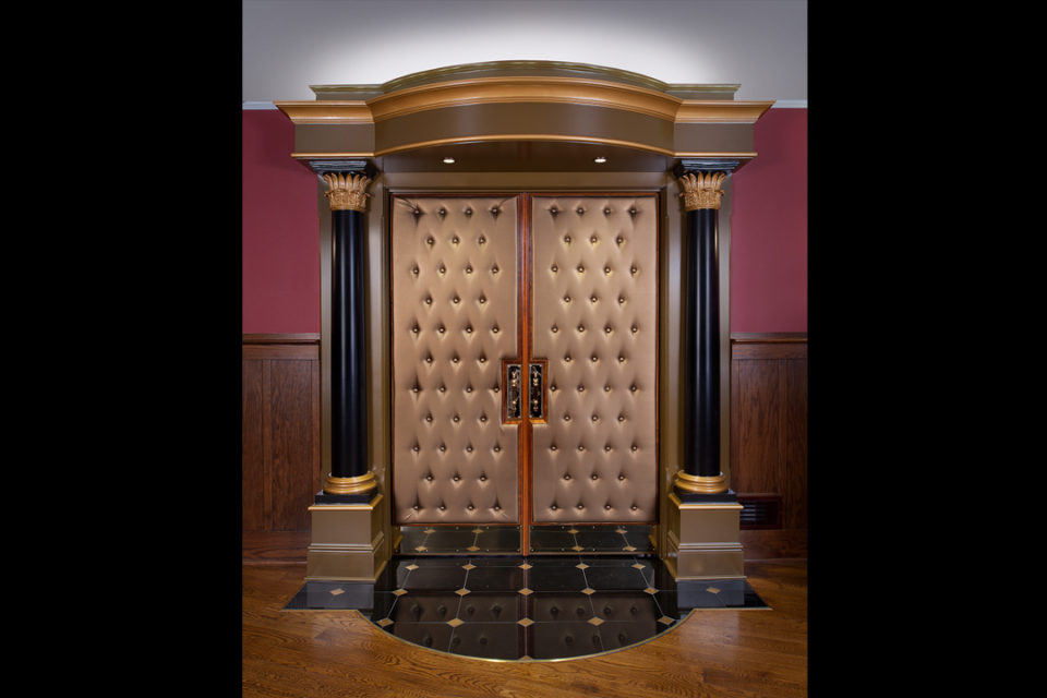 Home Theatre Doors Art Deco Home Theater With Carpet Wall Sconce